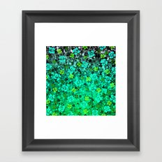 LUCK OF THE IRISH Colorful Emerald Green Ombre St Patricks Day Floral Shamrock Four Leaf Clover Art Framed Art Print