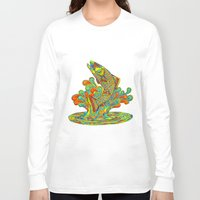 trout Long Sleeve T-shirts featuring Psychedelic Rainbow Trout by Rebecca Wang