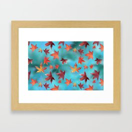 Dead Leaves over Cyan Framed Art Print