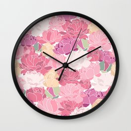 Rose Peony Flowers Wall Clock