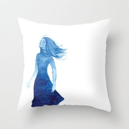 Woman in Blue or Sea Breeze Throw Pillow