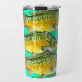 MODERN ART GREEN & OCHER DECORATIVE THREE FISH Travel Mug