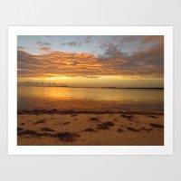Sunset at the beach causeway Art Print