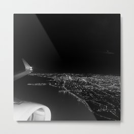 Chicago Skyline. Airplane. View From Plane. Chicago Nighttime. City Skyline. Jodilynpaintings Metal Print