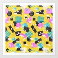 Watercolour Geometric Memphis - Yellow Art Print