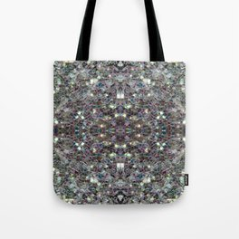 Sparkly colourful silver mosaic mandala Tote Bag