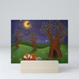 Fox And Bunny Dreaming The Night Away Mini Art Print