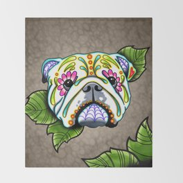 English Bulldog - Day of the Dead Sugar Skull Dog Throw Blanket