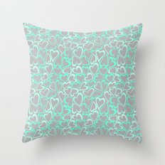 Cute grey mint hearts Throw Pillow