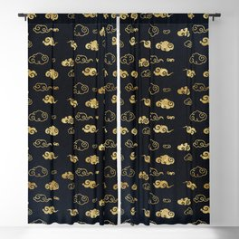 Black and Gold Asian Style Cloud Pattern Blackout Curtain