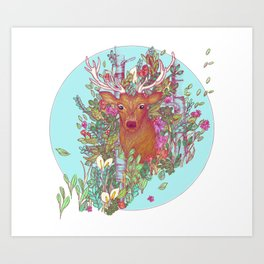 Stag of the Colorful Forest Art Print
