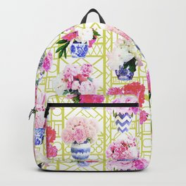 Peony Ginger Jars on Citron Trellis Backpack
