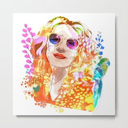 Lady and the Parrot Metal Print