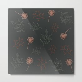 Flowers and Leaves Organic Floral Pattern Metal Print