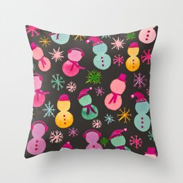 Colorful Snowpeople on Black Throw Pillow