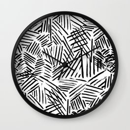 Black White Abstract Linear drawn Lines Pattern Wall Clock