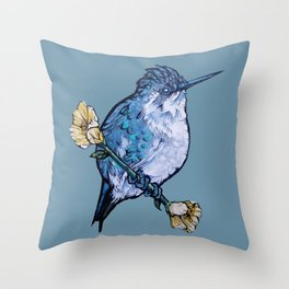 L'il Lard Butt Bee Hummingbird on Mallow flower Throw Pillow