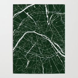 Paris France Minimal Street Map - Forest Green Poster