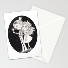 Moon man Romance with Lady Sun Stationery Cards