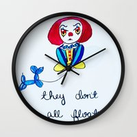 pennywise Wall Clocks featuring Pessimistic Pennywise by Ashley Petersen