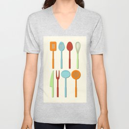 Kitchen Utensil Colored Silhouettes on Cream Unisex V-Neck