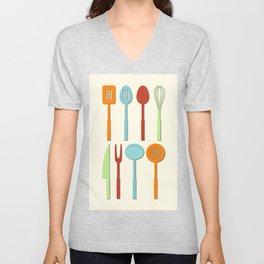 Kitchen Utensil Colored Silhouettes on Cream Unisex V-Neck