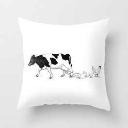 Cow vs. Chicken Throw Pillow