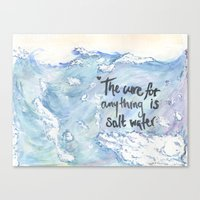 salt water Canvas Prints featuring Salt Water by Type Of Design