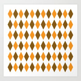 Diamond orange brown pattern Art Print