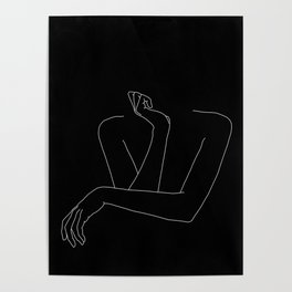 Woman's body line drawing illustration - Anna black Poster