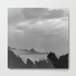 Violent Shores in Black and White Metal Print