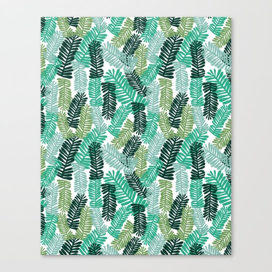 tropical plant house plant palm leaves plant watercolor painting abstract nature pattern leaf summer Canvas Print