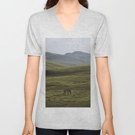 Lone Horse in the Hills of Mongolia Unisex V-Neck
