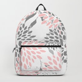 Festive, Floral Prints, Leaves and Blooms, Pink, Gray and White Backpack