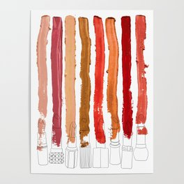 Lipstick Stripes - Red Orange Gold Poster