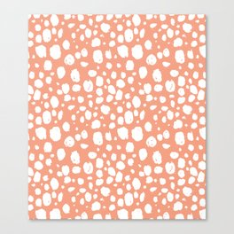 Painterly Dots in Peach and White Canvas Print