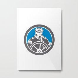 Fisherman Sea Captain Circle Retro Metal Print
