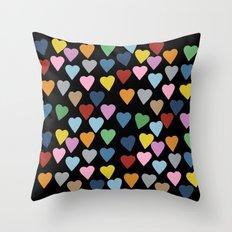 Hearts #3 Black Throw Pillow