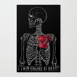 V-Twin Engine at Heart_Black Canvas Print