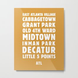 Atlanta Neighborhoods (Gold) Metal Print