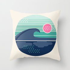 Cya Later - 70's retro ocean wave vintage style throwback 1970s minimal art Throw Pillow
