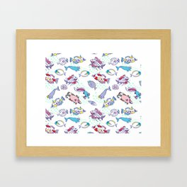 White Seamless pattern  with color fishes Framed Art Print