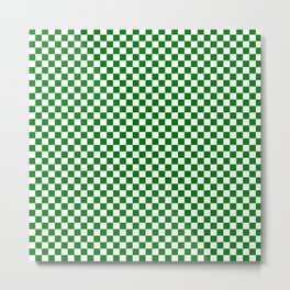 Christmas Green and White Checker Board Pattern Metal Print