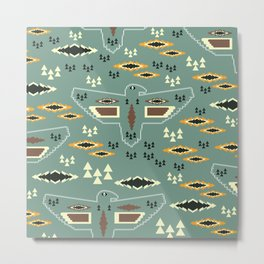 Native pattern with birds Metal Print