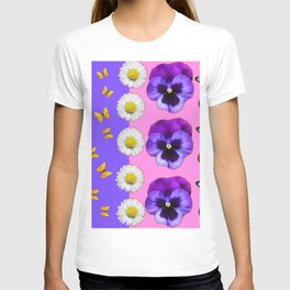 PINK-LILAC & PURPLE PANSY DAISY SPRING FLOWERS T-shirt