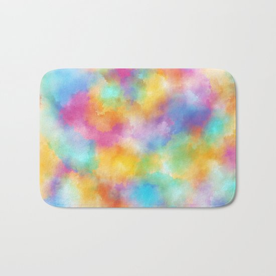 Watercolor Rainbow Abstract Art Bath Mat