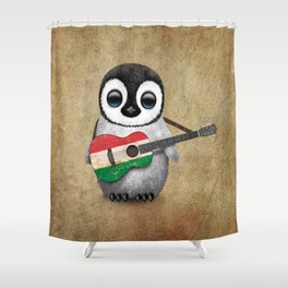 Baby Penguin Playing Hungarian Flag Acoustic Guitar Shower Curtain
