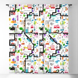 Busy City Streets Kids Watercolor Pattern Blackout Curtain
