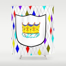 A Stained Glass Window with Shield and Crown Shower Curtain