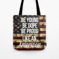 american Tote Bags featuring American by Karolis Butenas
